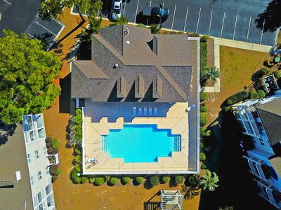 Outdoor Pool and Indoor Pool, Hot Tub and Fitness Room ~ Drone View