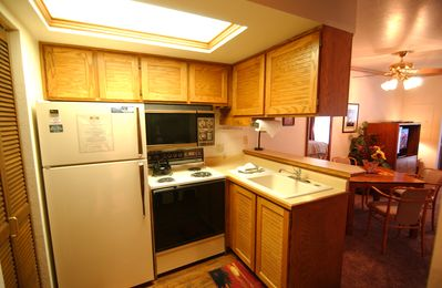 Full kitchen, refrigerator, stove/oven & microwave.