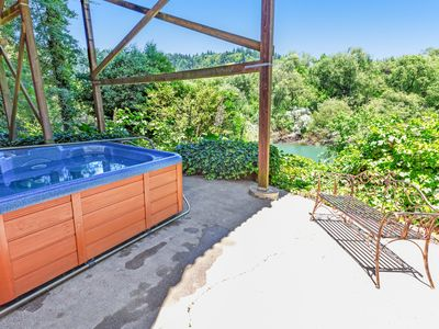 Photo for Riverfront chateau on 3 acres w/ hot tub & 360 river/vineyard views - dogs OK!