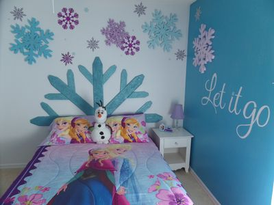 The newly updated 'Frozen' bedroom!  The Queen bed sleeps 2.