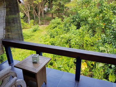 2 Bedrooms, part open, old style Bali house & big, shared pool