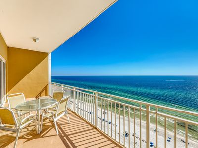 Photo for Beach, gulf front condo with private balcony & beach views - pool & gym!