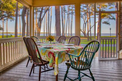 How about breakfast on the porch while watching a beach sunrise?