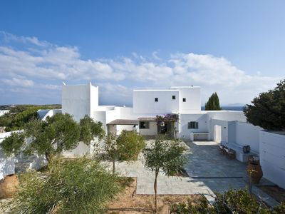 Photo for Amazing Blue Villa, Paros Island, 5 Bedrooms, 5 Bathrooms, Up to 12 Guests, with large terraces and direct access to the beautiful sandy beach !!