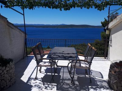 Photo for One bedroom apartment with terrace and sea view Zavala, Hvar (A-8912-a)