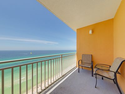 Photo for High-rise beachfront condo w/ Gulf view & shared hot tub/pool/lazy river!