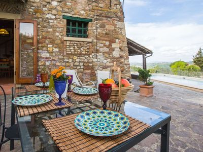Photo for La Vite Apartment in the heart of Chianti with panoramic views and swimming pool