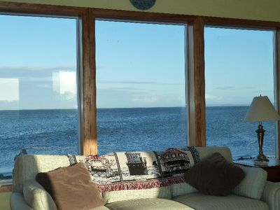 A fantastic view of the Straits of Juan de Fuca from the living room