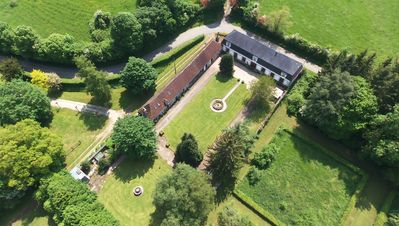 Overhead view of L'Orangerie Gite and walled garden.