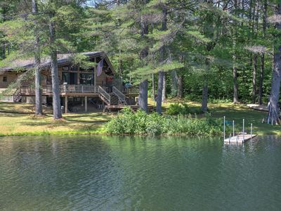 Photo for 3bed/1bath cabin with pond, canoes, hiking - Sleeps 5 people.
