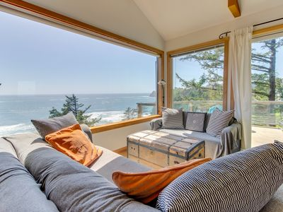 Photo for Airy beach home w/ two decks, ocean views - close beach access!