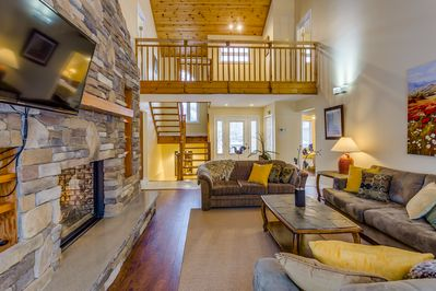 Beautiful family room with tons of seating for large party of guests