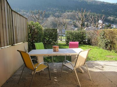 Photo for Garden level 200 m from the lake in a very quiet residence near Annecy.