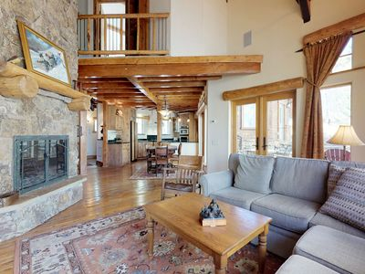 Photo for NEW LISTING! Hand built mountain view home w/fireplaces, patios & game room
