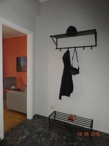 entrance hall with clothes & shoe rack