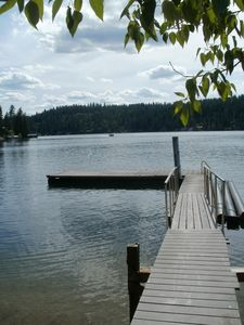 Photo for Hayden Lake Sandy Beach, faces West, Large dock, Optional 24 ft
