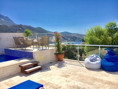 Photo for Luxury Duplex Apartment, Private Pool, Stunning  views over Kalkan Bay, Sleeps 6