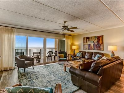Photo for 6th Floor 3 Bed/2 Bath Oceanfront condo sleeps 6. W/D, tennis, pool, balcony & pier.
