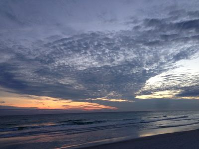 Sunset on the Beach at Seafarer.  Can you see the shell in the clouds?