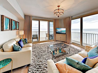 Living Area - Welcome to Panama City Beach! This condo is professionally managed by TurnKey Vacation Rentals.