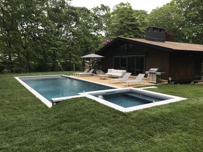 Photo for Chic Mid Century in Amagansett with Saltwater Pool and Spa - Walk To Bay Beaches