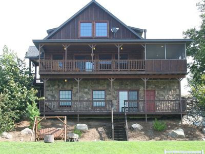 Photo for New Lakefront Luxury 4 Bedroom With Private Hot Tub, Pool, Beach, Pontoon rental