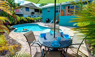 Photo for Charming Beach cottage- 3 Bed 2 Bath ONLY 2 BLOCKS TO THE BEACH- PRIVATE HEATED  Pool, free WiFi