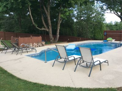 Comfy lounge chairs and pool floats