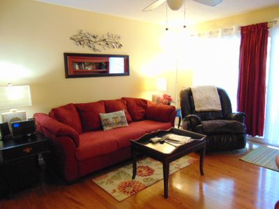 Photo for E12 Ocean Walk with BIKES, upstairs two bedroom, two bath home is very well equipped. Comfy and in a very quiet location of complex.  Close to front heated pool.  Unit has a king and two twin beds. Sleeps 5 with an additional air mattress included.