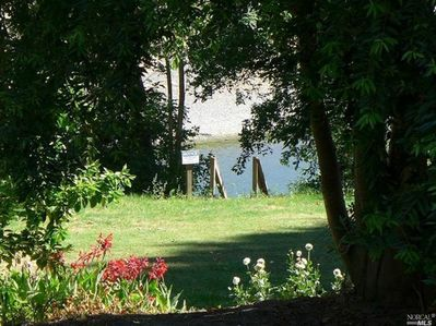 Meadow and top of stairs to our seasonal dock and the river!
