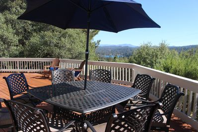 Table seats 8. Enjoy the vast views of the Sierras while relaxing on the deck