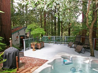 Photo for Guerneville Cottage, Decks, Skylight, Hottub! Romantic 3 for 2 Midweek