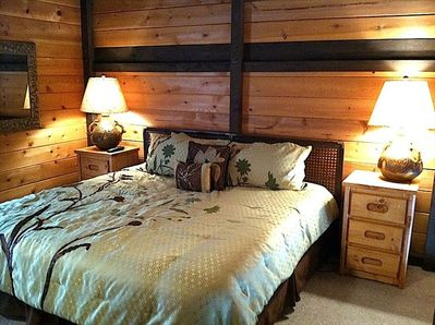 King size bed in loft with private full bath.