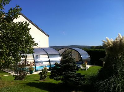 garden with covered pool