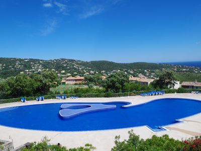 Photo for Beautiful apartment overlooking pool and sea ST Tropez Bay