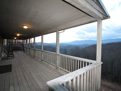 Photo for Gorgeous cabin on 2 acres, amazing views, 4/2, Covered deck, Fire-pit, game-room