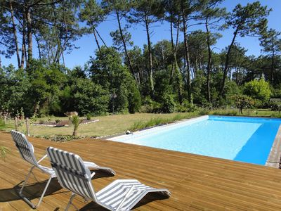 Photo for Pretty Villa 6p in pine forest not overlooked with swimming pool 10X5