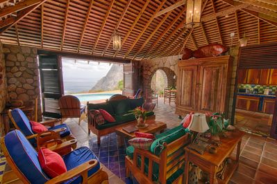 The living room has views of BOTH Pitons and the blue Caribbean. Spectacular!