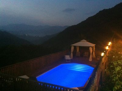the poolin the night....