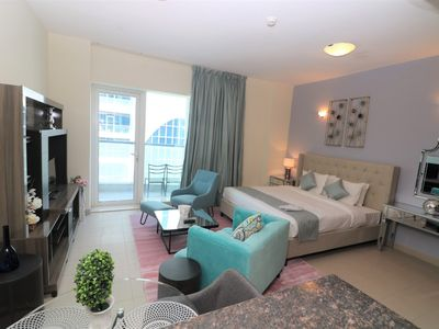 Photo for Ample Studio Apartment in Cricket Tower- Sports City