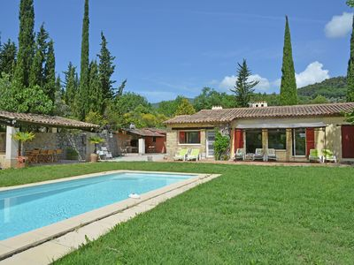 Photo for Air conditioned villa with heated private pool, play area superb view and garden
