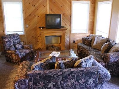 living room with camo furniture
