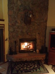 Cozy wood-burning fireplace.  FREE FIREWOOD.