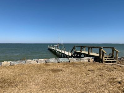 Side View of NEW dock and rip rap. Completed March 2019