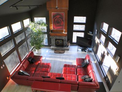 large living rm. Macy's red leather sectional.
