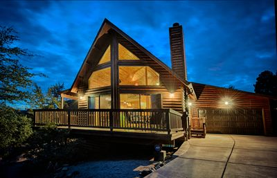 Photo for Stunning Log A-Frame Cabin Chalet. 360 views. Hot tub!