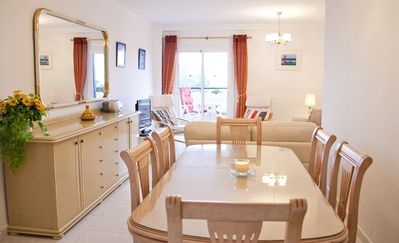 Large separate dining area and table for 6 people