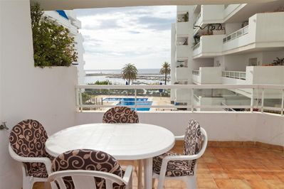 Balcony views with dining table