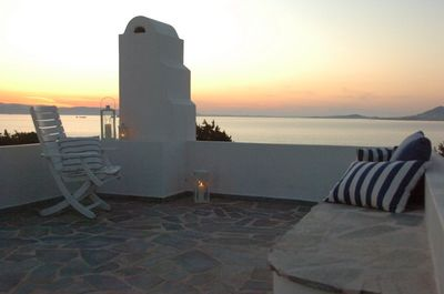 Roof terrace at Sunset over Paros
