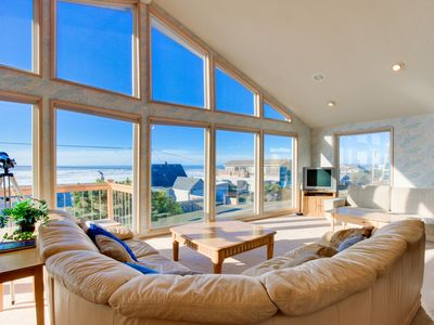 Photo for Bright home w/ private hot tub & stunning ocean views, nearby beach access!